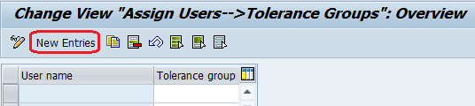 Assign Users to Tolerance Groups new entries