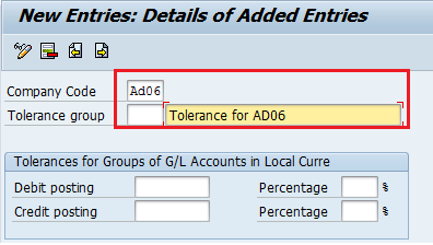 define tolerance group for gl accounts