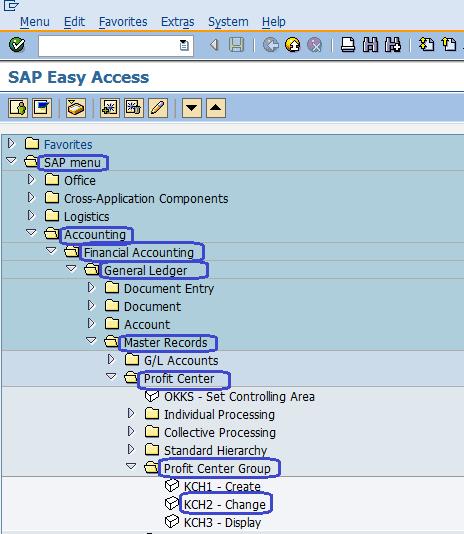 SAP Menu Path - Change Profit Center Group