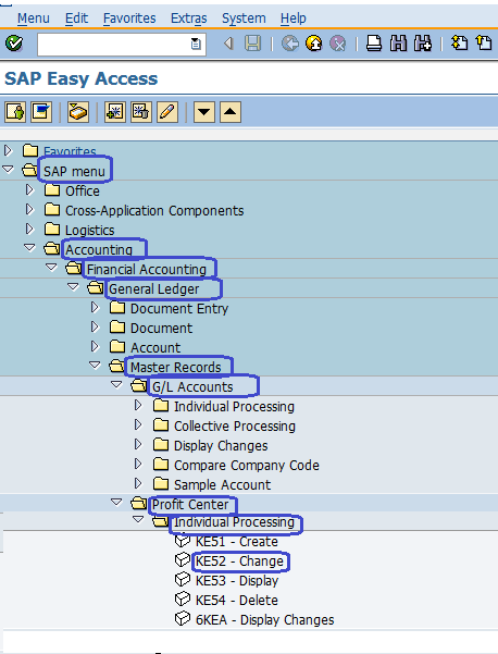 SAP Menu Path - Change profit Center