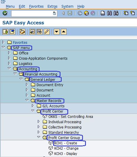SAP Menu Path - Create Profit Center Group