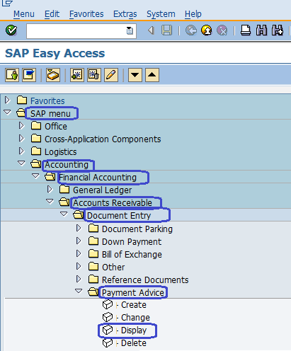Display Payment Advice in SAP