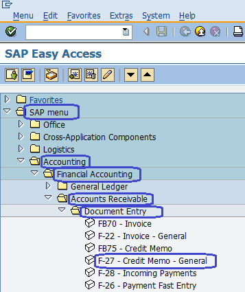 Enter Customer Credit Memo General in SAP