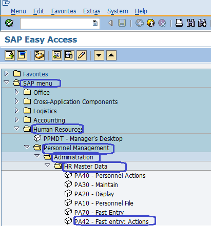 HR Master Data Fast entry Actions in SAP