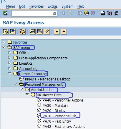 Personnel File in SAP