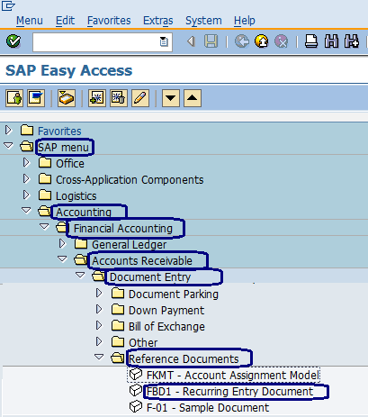 Recurring Entry Document in sap