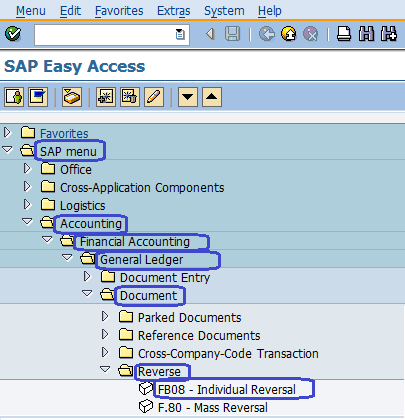 SAP Menu Path Individual Reversal
