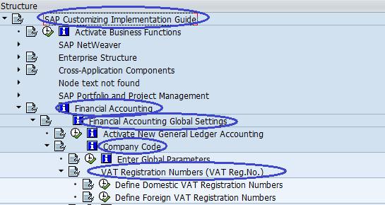 Menu Path - VAT Registration numbers