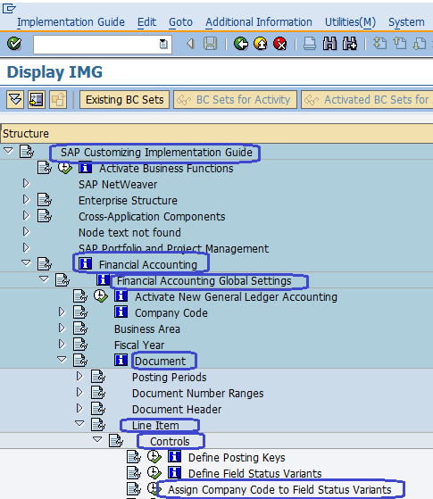 Assign Company code to Field Status Variants SAP
