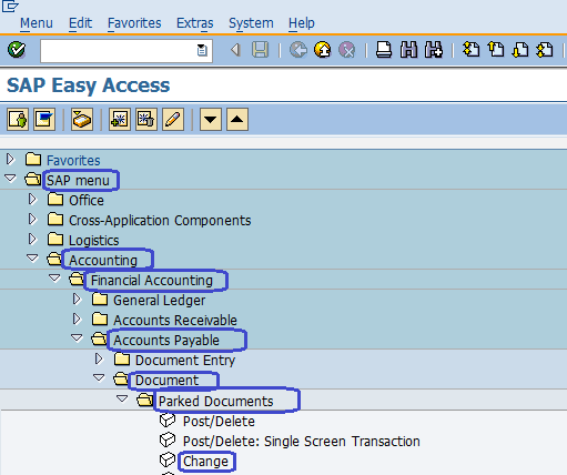 Change vendor parked documents SAP