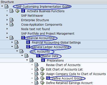 Define Account Group SAP