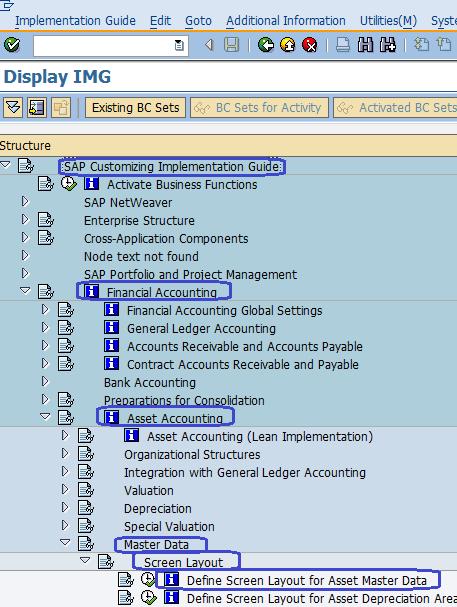 Define Screen layout for Asset Master Data