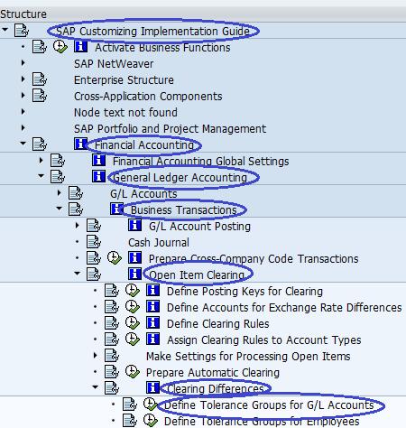 Define Tolerance Groups for GL Accounts SAP