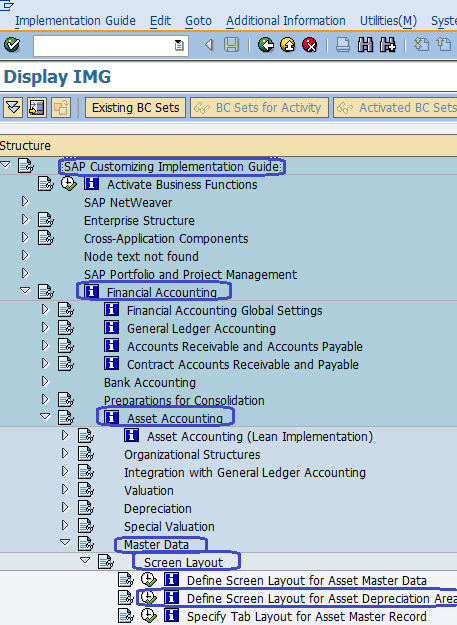 Define screen layout for Asset Depreciation Areas