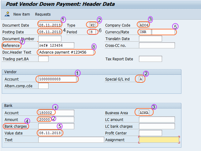 How to post vendor down payment