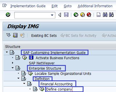 Define Company in SAP - SAP Menu path