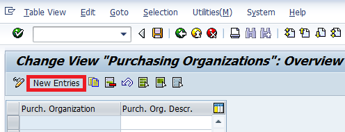 Maintain Purchasing Organisation entries