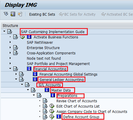 Create Account Group in SAP Path