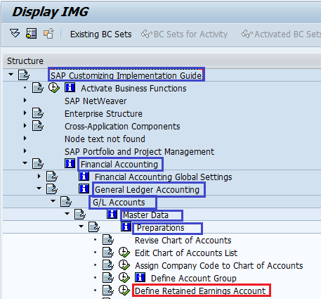 How to Define Retained Earnings Account SAP path