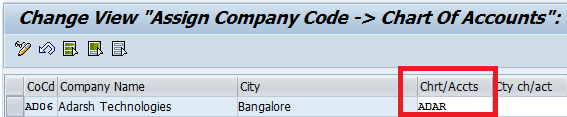 Assign Company Code to Chart of Accounts