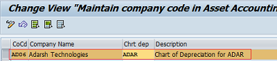 Assign Chart of Depreciation to Company code in SAP
