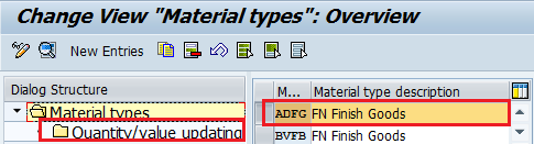 Material types overview - Material Types in SAP