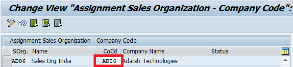 assign sales organisation to company code