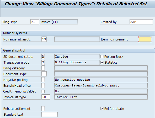 billing document types entries