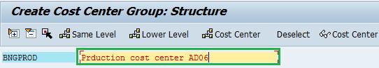cost center group description