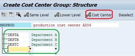 cost center group insert