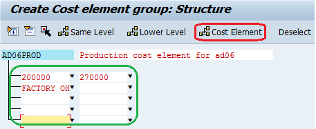 cost element group - insert