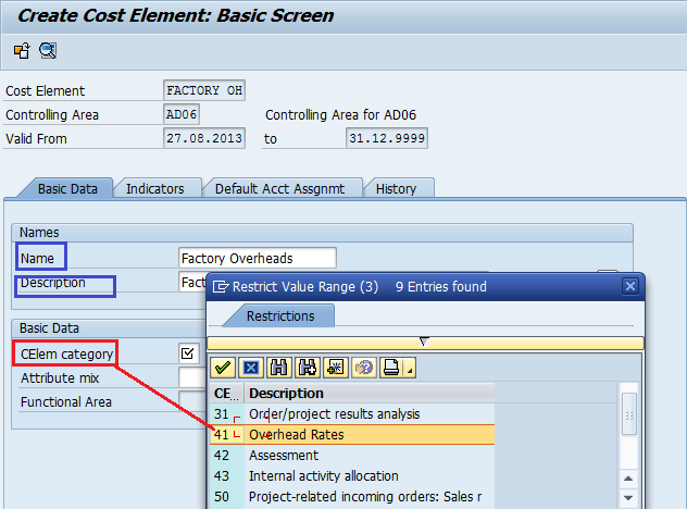 create secondary cost elements