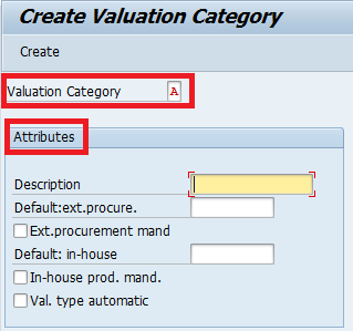 create valuation category