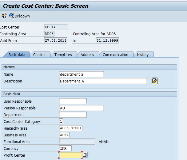 How to create new cost center in SAP