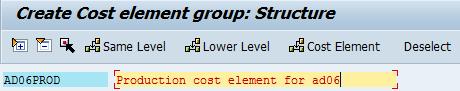 description cost element group