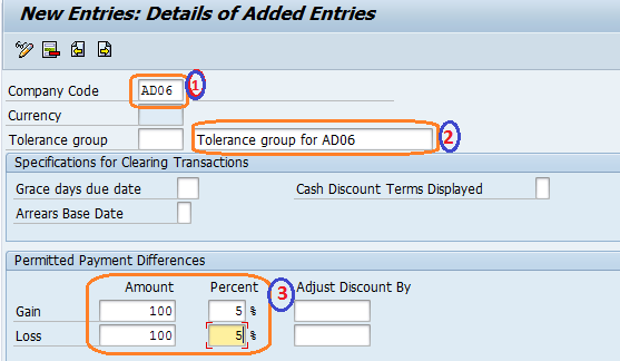 How to Define Tolerance group for vendors /Customers