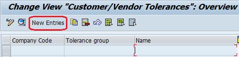 Define Tolerance group for vendors entries