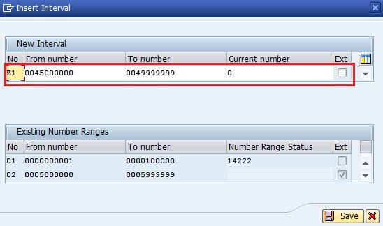 Define number ranges for sales document types