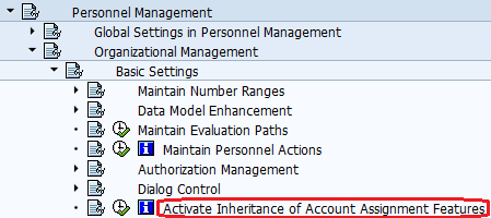 Activate Inheritance of Account Assignment Features path