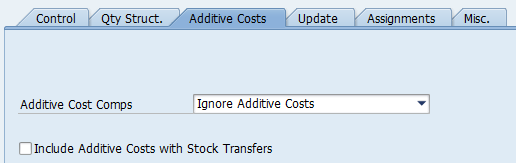 Additive costs costing variants