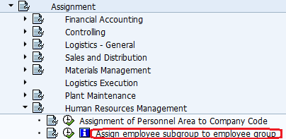 Assign employee subgroup to employee group