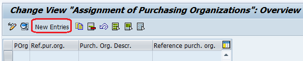 Assign purchasing organization new entries
