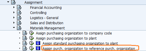 Assign purchasing organisation to reference purchasing organisation