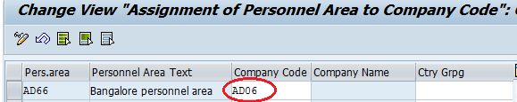 Assignment of Personnel Area to Company Code