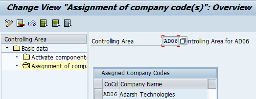 Assignment of company codes