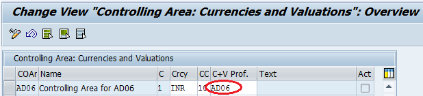 Assign Currency and valuation profile to controlling area
