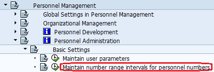 Maintain number range intervals for personnel numbers Path
