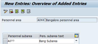 Personnel Subareas entries