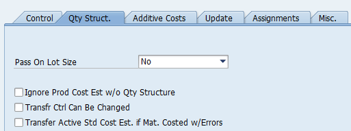 Qty Struct Costing variants