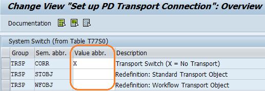 Set Up PDTransport Connection entries